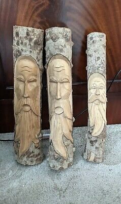 £19.99 • Buy Hand Carved Wood Decorations Forest Green Man Wizard Pagan Set 3