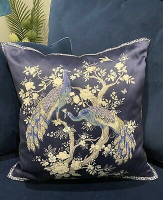 £75 • Buy Laura Ashley Belvedere Peacock Midnight Navy Blue Cushion Feather Insert