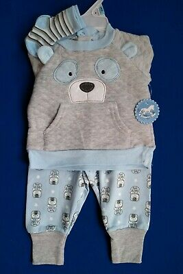 £2.99 • Buy Baby Boys Clothing Set Age 3 6 Months Quilted Sweater Joggers Socks Bear Outfit