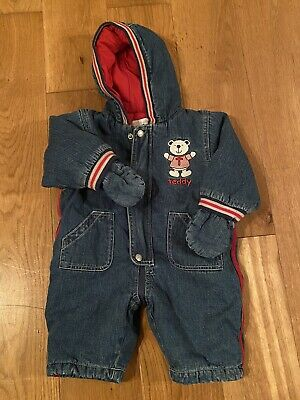 £4.30 • Buy Babies Pitter Patter Denim All In One Winter Suit Age 6 To 9 Months
