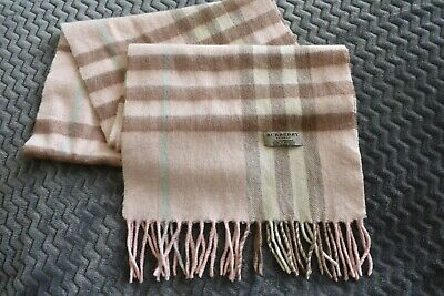 £65 • Buy BURBERRY London 100% Cashmere Pink Check Scarf Made In England 69  Long