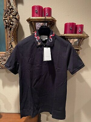 AU799.84 • Buy 100% Authentic GUCCI Black Cotton Polo With Kingsnake Embroidered Size: L
