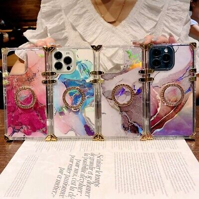 AU8 • Buy Square Watercolor Clear Phone Case For IPhone 11 12 13 Pro Max XR XS X 6 7 8 SE