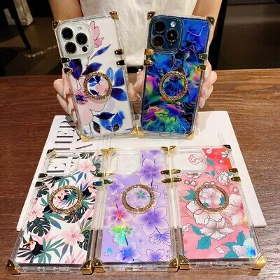 AU8 • Buy Square Clear Flower Leaf Phone Case For IPhone 11 12 13 Pro Max XR X 6 7 8 SE