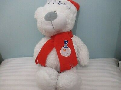 £0.99 • Buy 15  Cuddles Collection White Hat Scarf Soft Toy Teddy Bear Let It Snow Man