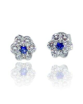 £250 • Buy Blue Sapphire And Diamond Daisy Earrings 1.15ct In 18ct White Gold