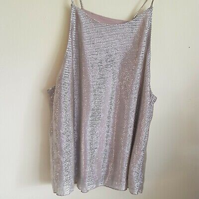£2.99 • Buy Ladies Size 12 Medium Silver Top Shiny Paterned Comfy Lining, Real Quality