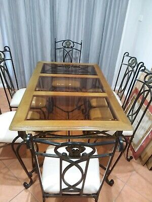 AU200 • Buy Wrought Iron Glass Top Dining Table And 6 Chairs