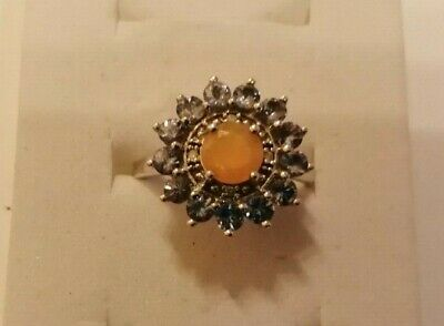 £6.95 • Buy Sterling Silver, Facet Cut Opal And Tanzanite Ring Size