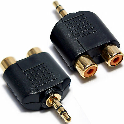 3.5mm Jack Plug To 2 RCA/Phono Adapter-Phone TV AMP Male Audio AUX Converter PC • 1.99£