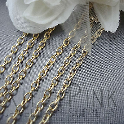 2 Metres Gold Plated Chain 3 X 2mm NICKEL FREE Necklace • 0.99£