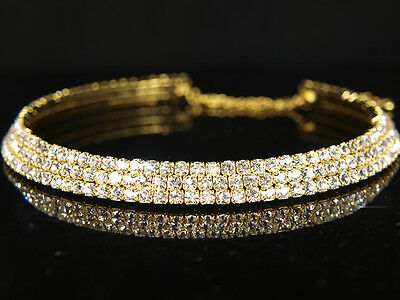 £5.99 • Buy SALE Bridesmaid Prom 3 Rows Gold Plated Simulated Diamond Choker Necklace BN039G