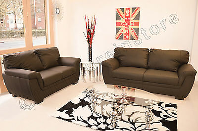 Lazar Brown Faux Leather 3 + 2 Piece Sofa Suite Seater • 599.99£