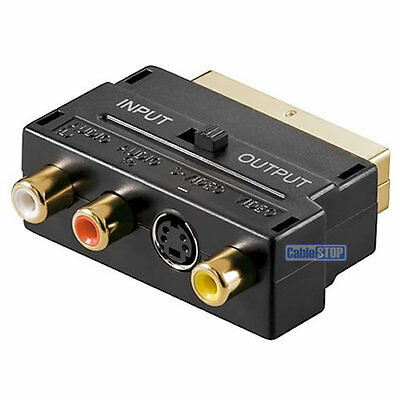GOLD SCART To RED WHITE YELLOW 3 RCA PHONO AUDIO VIDEO & 4 Pin AV TV ADAPTER • 2.95£