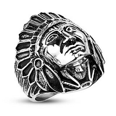 £9.22 • Buy Stainless Steel Large Apache Indian Chief Head Shield Ring Size 9-14