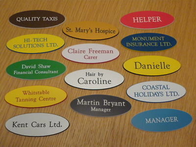 £1.10 • Buy Engraved Oval Name Badges - Your Text, Choice Of Colours, Top Quality