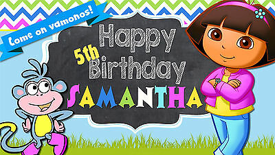 Dora The Explorer Personalized Custom Birthday Banner In/outdoor Use • 30.63£