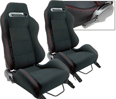 $249.99 • Buy 2 Black Cloth + Red Stitching Racing Seats Fit For Ford Mustang