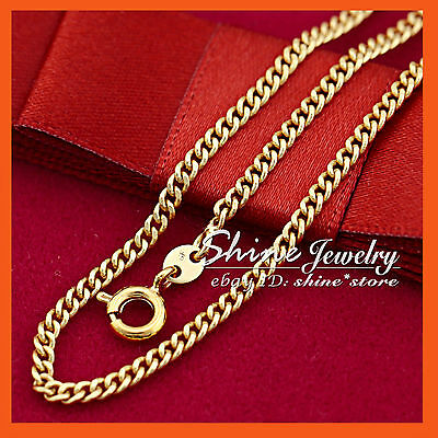 AU6.72 • Buy 9K GOLD GF N100 CURB RING LINK CHAIN WOMEN GIRLS SOLID NECKLACE For Pendant 45CM