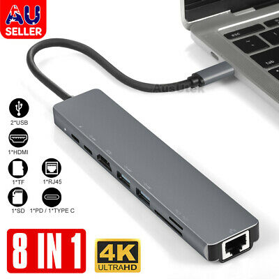 AU43.95 • Buy 8in1 USB-C 3.1 To Type-C USB 3.0 Hub HDMI RJ45 Ethernet Micro SD TF OTG Adapter