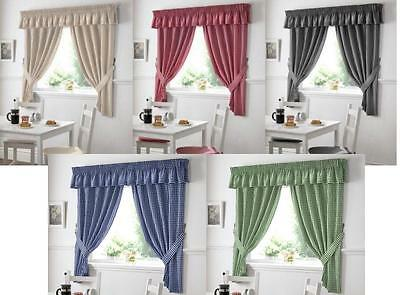 £13.99 • Buy Gingham Check Kitchen Curtains 5 Great Colours All Size & Great Value For Money