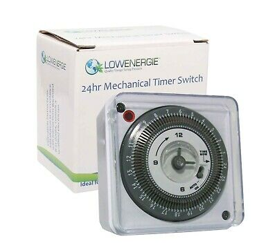 £10.49 • Buy Lowenergie 24 Hour Mechanical Immersion Heater Time Switch Socket Box Timer, 16A