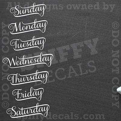 $14 • Buy CHALKBOARD CALENDER DAYS OF THE WEEK Vinyl Wall Decal Decor Stickers Quote