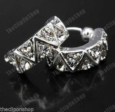 U CLIP ON Rhinestone CRYSTAL Half Hoop HUGGIE Studs STUD EARRINGS Silver Plated • 2.99£