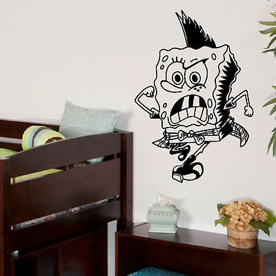 Large Spongebob Punk Child Bedroom Wall Art Bedroom Mural Sticker Transfer Decal • 7.64£