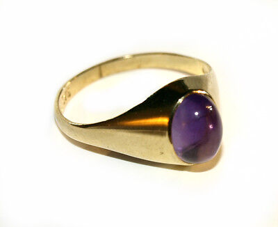 £52.99 • Buy 9ct Yellow Gold Ring Set With Cabochon Amethyst -Gift Boxed