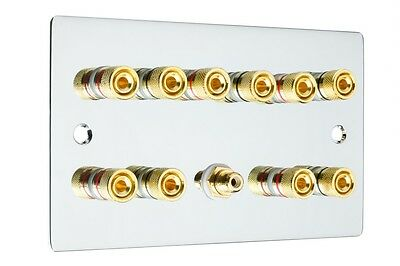 £22.90 • Buy  5.1 Surround Sound Speaker Wall Face Plate Gold Binding Posts Polished Chrome