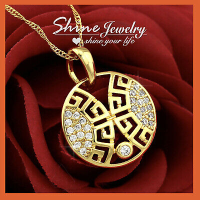 £7.62 • Buy 24k Yellow Gold Gf Greek Key Diamond Round Tag Pendant Solid Chain Necklace Gift