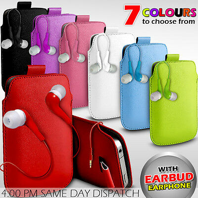Leather Pull Tab Pouch Skin Case Cover+earbud Earphone For Various Mobilephones • 2.90£