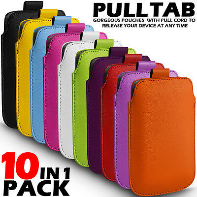 10 In 1 Pack Pull Tab Leather Pouch Skin Case Cover For Various Zte Mobiles • 11.99£