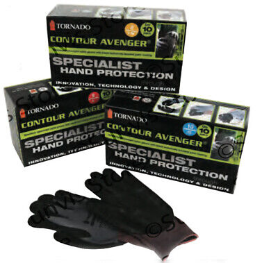 TORNADO Contour Avenger Special Hand Protection Work Gloves 10 Pairs S/M,L, XL • 23.50£