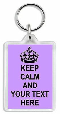 £3.69 • Buy Keep Calm And Make Your Own Keyring / Bag Tag - Add Any Text  *Great Gift*
