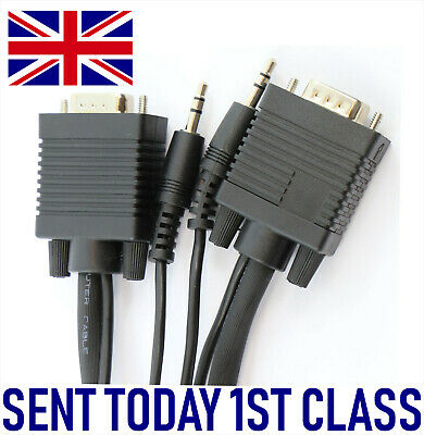 S-VGA Lead Plus Inbuilt Stereo Jack Plugs Laptop - HDTV Length:1 2 3 5 10 15 20m • 11.69£