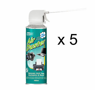 5 X 400ml Compressed Air Duster Cleaner Spray Can Canned Laptop Keyboard Mouse • 14.38£