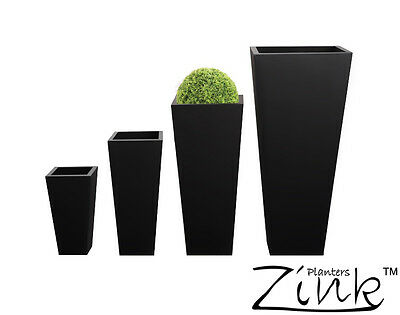 Zinc Black Tall Flared Square Planter Metal Plant Pot Garden Patio Galvanised • 105.99£
