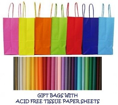 PARTY GIFT BAGS X 5 - WITH TISSUE PAPER - BIRTHDAY ~ WEDDINGS ~ CHRISTENINGS • 3.49£