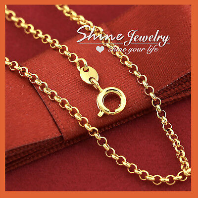 AU9.44 • Buy 9K GOLD FILLED 2mm Round BELCHER CHAIN RING LINK SOLID NECKLACE For Pendant 45cm