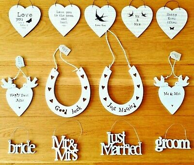 East Of India Small Wooden Wedding Signs Wedding Gifts Favours Hanging Gift Tags • 1.99£