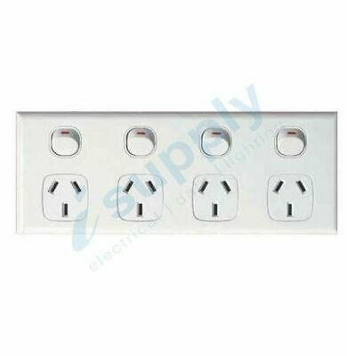 AU33.49 • Buy DEXTON Quad 4 Gang Power Point Socket Outlet GPO White DXWGPO4