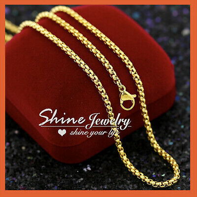 AU10.72 • Buy 9K YELLOW GOLD GF 2MM BOX CHAIN SOLID MENS WOMENS LONG NECKLACE For PENDANT 60CM