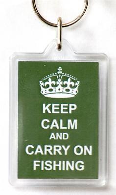 Keep Calm And Carry On Fishing Acrylic Key Ring Ideal Fishing Gift Or Prize • 4.99£