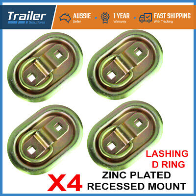AU30.28 • Buy 4 X Lashing D Ring Oval Tie Down Anchor Point Zinc Plated Ute Trailer 105 X 70mm
