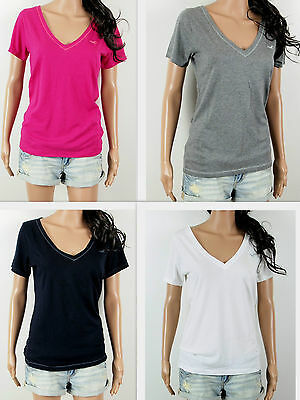 AU22.96 • Buy NWT HOLLISTER Women's T-Shirt Aliso Creek V Neck Classic Fit By Abercrombie