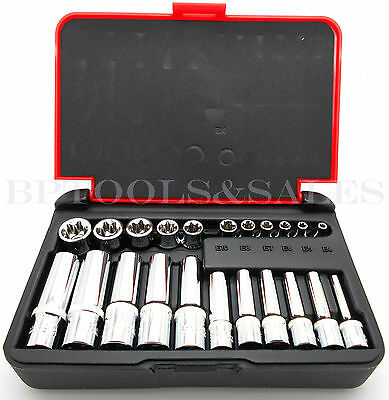 $28.99 • Buy 22-PC 1/4  & 3/8  DR. Female TORX Socket Set Star Socet E4-E10 E11-E18 Sockets