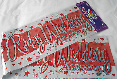 3 X Giant Ruby Wedding Anniversary Banners / Wall Banners  Party Decoration • 1.99£