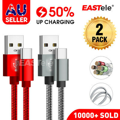 AU6.99 • Buy 2x Fast Charging USB Type C Cable Samsung Galaxy S8 S9 S10 PLUS Note 10 HUAWEI